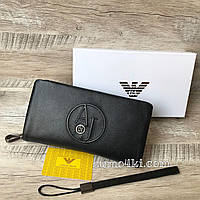 Мужской кожаный клат-кошелек Armani