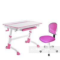 Комплект растущая парта Volare Pink + детский стул LST6 Pink FunDesk, фото 1