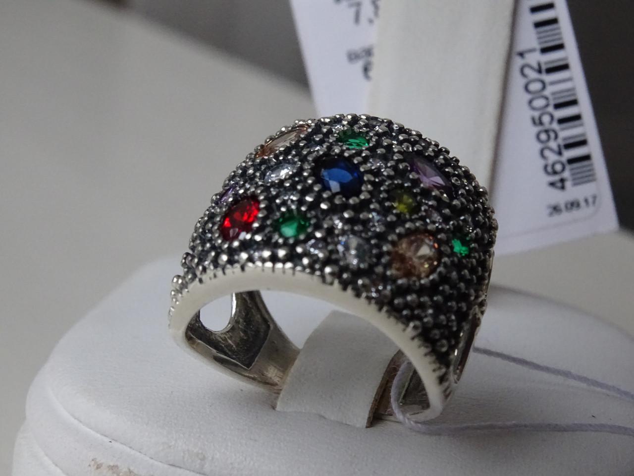 Серебряное кольцо с разноцветными фианитами
