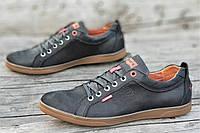 Туфли мокасины мужские Levis реплика стильные натуральная кожа черные (Код: 1214а)