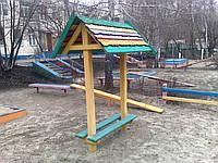 Лавка с крышей детская деревянная Гном