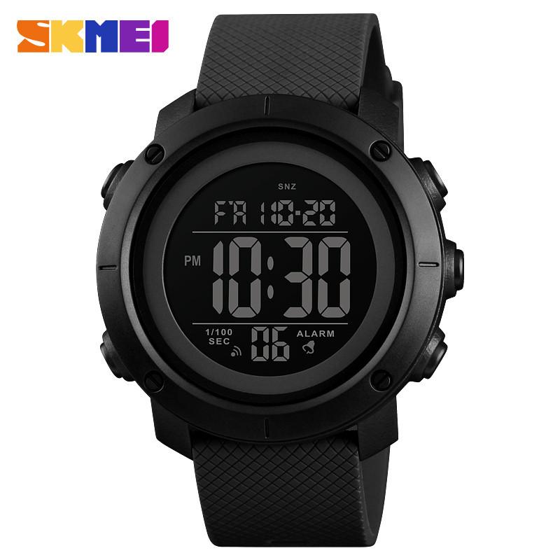 Skmei 1426 черные с черным циферблатом мужские спортивные часы