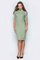 Оливковое платье-гольф с коротким рукавом, фото 1