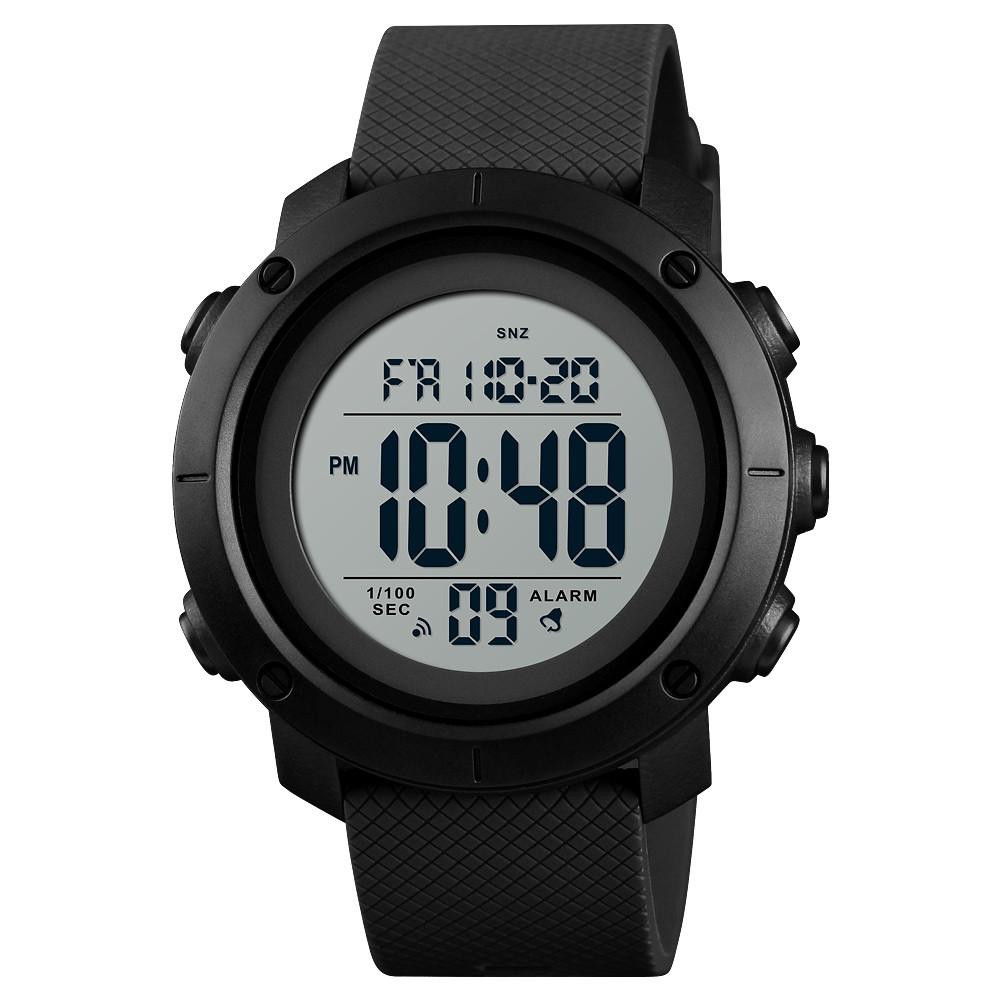 Skmei 1426 черные с белым циферблатом мужские спортивные часы