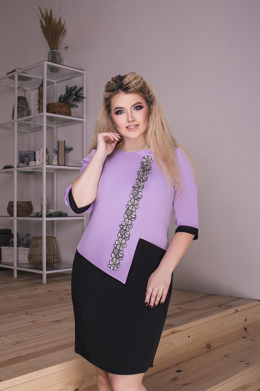 Модное комбинированное платье-новинка батал