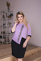 Модное комбинированное платье-новинка батал, фото 1