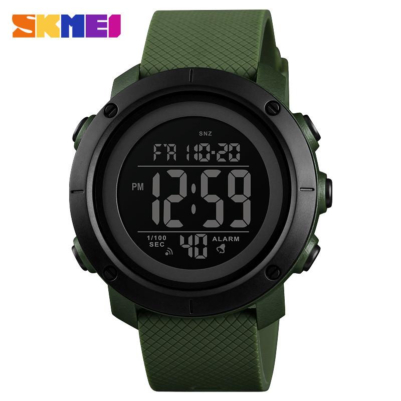 Skmei 1426 зеленые с черным циферблатом мужские спортивные часы