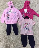 Трикотажный костюм - тройка для девочек S&D оптом, 1-5 лет.
