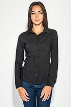 Блузка, рубашка женская деловая, однотонная 489F001 (Черный)
