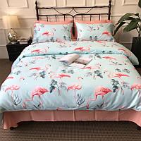 Голубой комплект хлопкового постельного белья Розовый фламинго (двуспальный-евро), фото 1