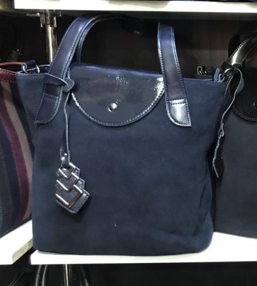 c25b01f60f67 Замшевая женская сумка-тоут синего цвета, цена 970 грн., купить в Харькове  — Prom.ua (ID#867762427)