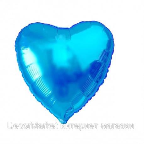 Шар сердце фольгированное, ГОЛУБОЕ - 13 см (5 дюймов), фото 2