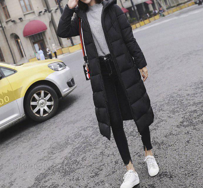 Модный длинный женский пуховик пальто зимнее