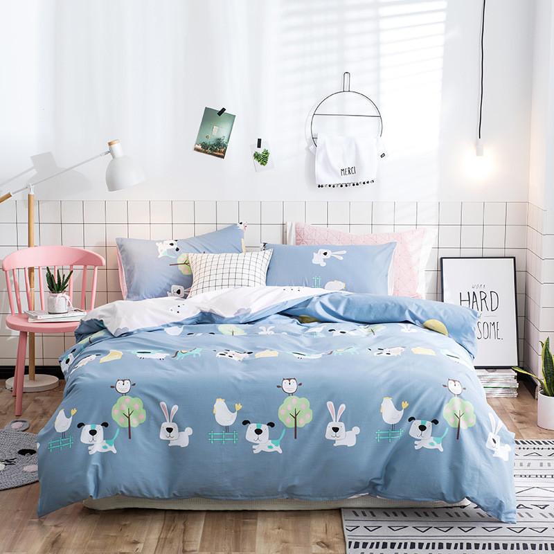 Синя бавовняна постіль дитяча Ферма тварин (двоспальний євро)
