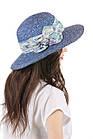 Шляпа соломенная с прямыми полями синяя, фото 2