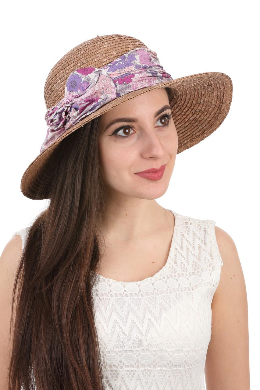 Шляпа соломенная с прямыми полями коричневая