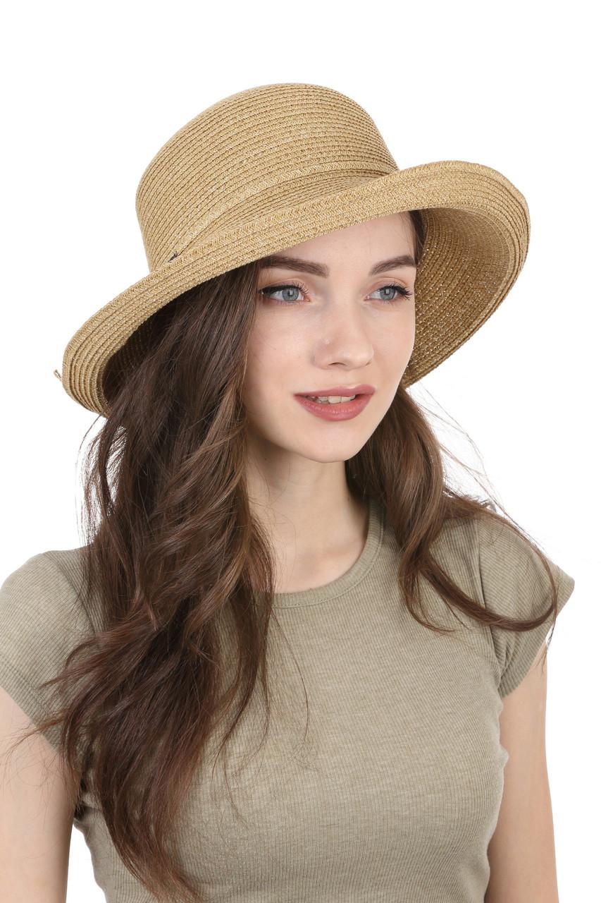 Шляпа женская с поднятыми полями коричневая