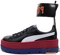 Женские кроссовки Puma X RihannaFenty Ankle Strap Sneaker  Black White Redbud Clematis 5dfd88baa8d1