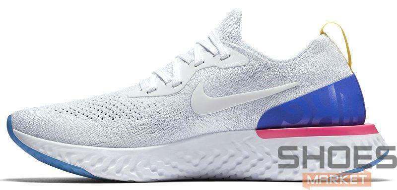 """Женские кроссовки Nike Epic React Flyknit """"White & Racer Blue"""" AQ0067-101, Найк Эпик Реакт Флайнит"""