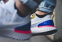 """Женские кроссовки Nike Epic React Flyknit """"White & Racer Blue"""" AQ0067-101, Найк Эпик Реакт Флайнит, фото 2"""