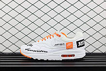 Мужские кроссовки Nike Air Max 1 SE White Total Orange 'Just Do it' AO1021-100, Найк Аир Макс 1, фото 3
