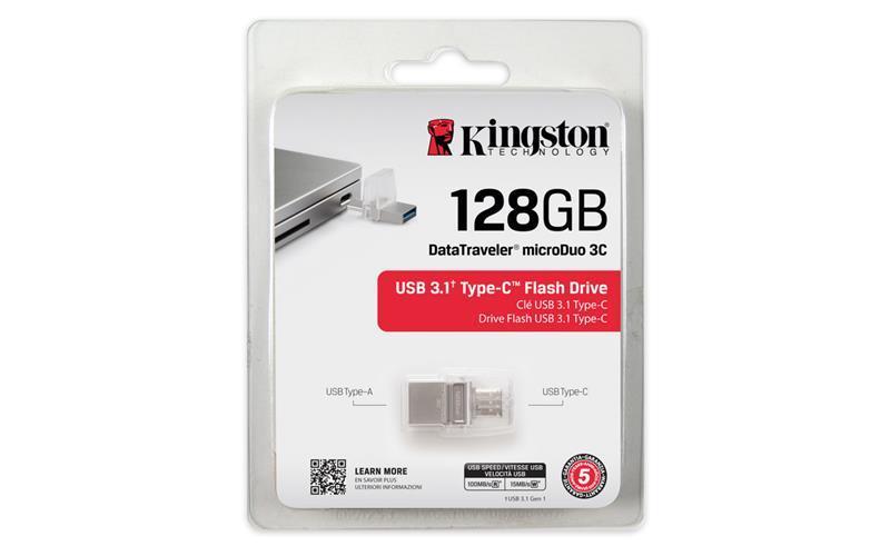 Накопичувач Kingston 128GB USB 3.1+Type-C DT Micro Metal Silver