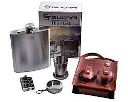 Подарочный набор фляга/кожаная сумка/зажигалка с фонариком/стакан
