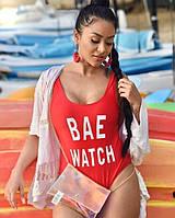 Красный слитный купальник с подкладкой и чашечками BAE WATCH