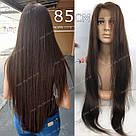 🙎 Парик из натуральных волос с имитацией кожи, коричневый, фото 2