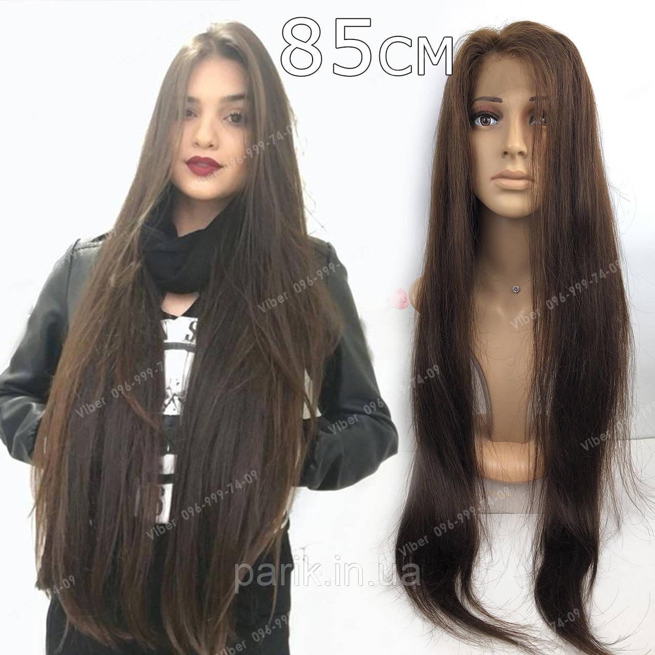 🙎 Парик из натуральных волос с имитацией кожи, коричневый