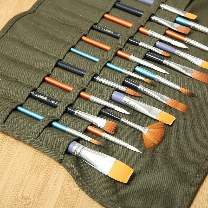 Пенал чехол-органайзер для кистей художника на 22 ячейки