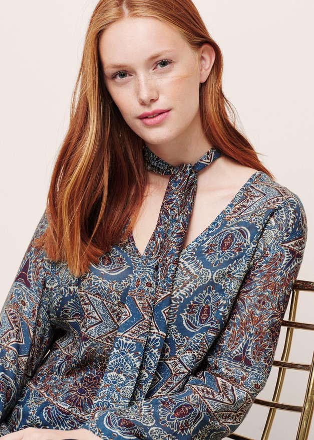 Блуза женская Mango размер 50-52 RU блузка шифоновая с длинным рукавом