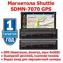 Автомагнитола Выдвижная мультимедиа с выездным экраном SHUTTLE SDMN-7070 Bl/Multi (Navitel map) MP5 ресивер