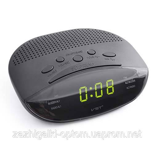 Годинник мережеві 908-2 зелені радіо FM *