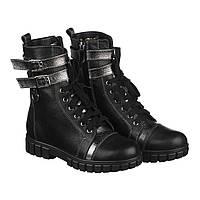 Кожаные зимние ботинки для девочки Villomi черные (р.31-36) c759abc1010c6