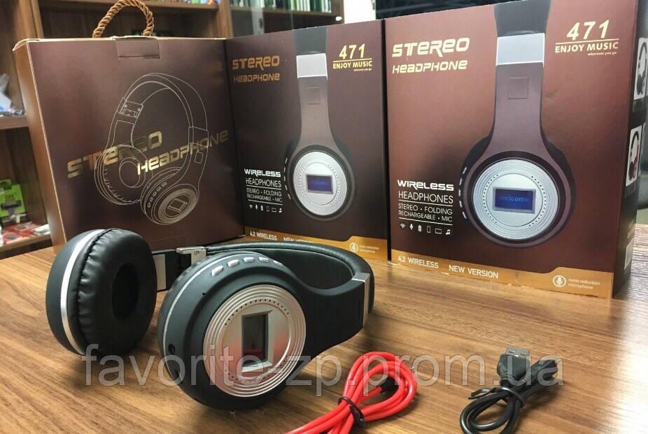Беспроводные Bluetooth наушники JBL 471 c FM, MP3 и ЖК дисплеем