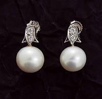 Женские серьги из белого золота с бриллиантами и жемчугом С37Л1№21