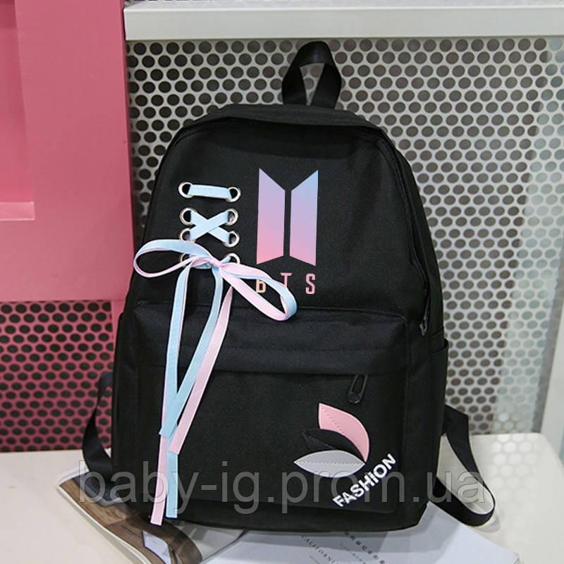 ad11751573b4 Женский K-pop рюкзак BTS черного цвета. Стильный городской рюкзак из ткани .Прочный