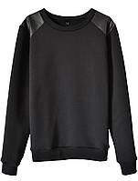 Женский стильный свитшот с кожаными вставками  (женские кофты, кофточки, толстовки, регланы, свитера)