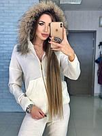 Шикарный белый вязаный костюм с капюшоном, фото 1