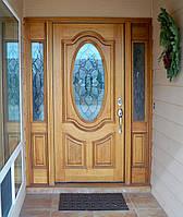Двери входные с вставками из стекла
