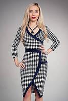 Стильное женское платье в гусинную лапку офисного стиля