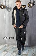 Костюм мужской зимний лыжный на синтепоне стёганый Nike спортивный, черный