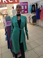 Кардиган женский зеленый с длинным рукавом. хорошего качества