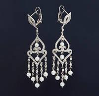 Женские серьги из белого золота с бриллиантами и жемчугом С37Л1№19