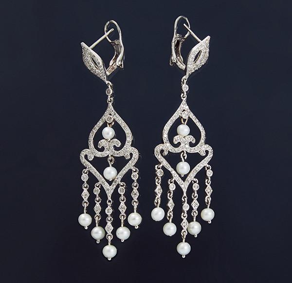 Жіночі сережки з білого золота з діамантами і перлами С37Л1№19