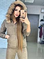 Теплый женский вязаный костюм с натуральной опушкой, фото 1