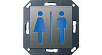 Светодиодный указатель для ориент ии СИД Туалет, Ж, М Gira E22 сталь Gira (279120)