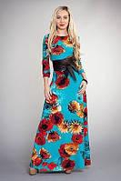 Длинное платье из трикотажа-отто в цветы