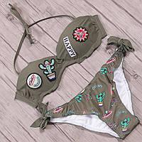Раздельный купальник пуш ап с принтом и нашивками, цвет хаки, размеры S, M, L